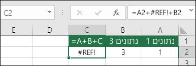 שגיאת #REF! נגרמת כתוצאה ממחיקת עמודה.  הנוסחה השתנתה ל- =A2+#REF!+B2