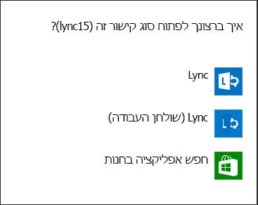 צילום מסך של הודעת Lync לבחירת תוכנית