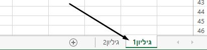 לשוניות גליון העבודה של Excel הן בחלק התחתון של חלון Excel.