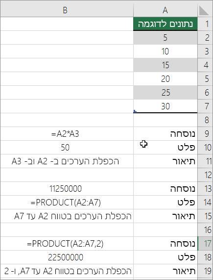 הכפלת מספרים באמצעות הפונקציה PRODUCT