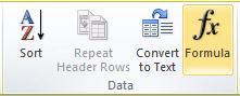 הקבוצה 'נתונים' של הכרטיסיה 'פריסה' של 'כלי טבלאות' ברצועת הכלים של Word 2010.