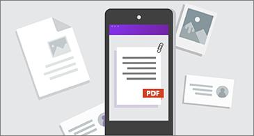 טלפון עם PDF במסך ומסמכים אחרים מסביב לטלפון