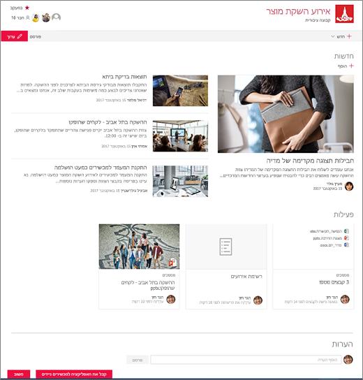 דף הבית של אתר SharePoint Teams