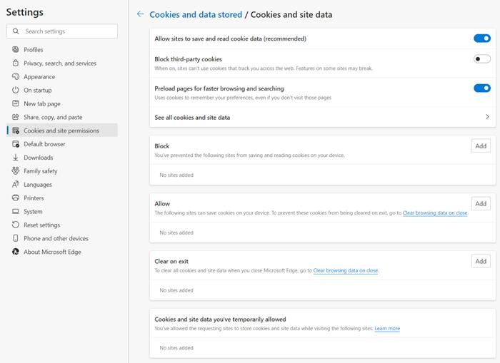 Microsoft Edge קבצי Cookie ונתונים