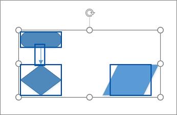 בחירת מספר צורות על-ידי גרירה