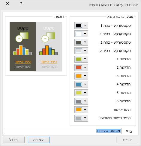 הצגת תיבת דו-שיח של צבעי ערכת נושא מותאמים אישית ב- PowerPoint