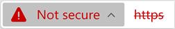 סמל של אתר אינטרנט עם אישור לא חוקי