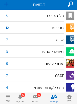 צילום מסך של קבוצות באפליקציית Yammer למכשירים ניידים