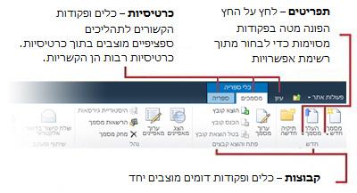 מבט כולל על ממשק רצועת הכלים של SharePoint