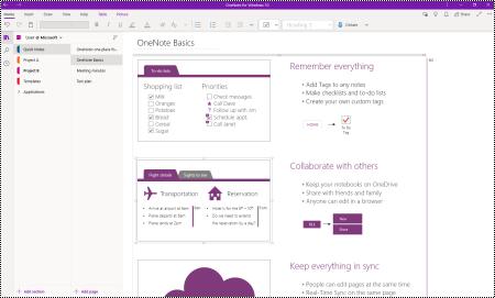 התצוגה הראשית של OneNote עבור Windows 10.