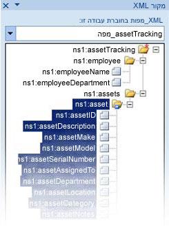 מיפוי קובץ הסכימה inopath ל- Excel