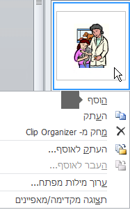 כדי להוסיף תמונה, לחץ באמצעות לחצן העכבר הימני על תמונה ממוזערת ובחר 'הוספה'.