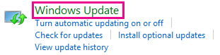 הקישור Windows 8 Windows Update בלוח הבקרה