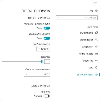 החלונית 'אפשרויות אחרות' של 'נוחות גישה' בהגדרות Windows 10