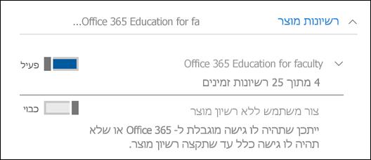 צילום מסך של הוספת משתמש ב- Office 365, המציג את המקטע רשיון מוצר מורחב.