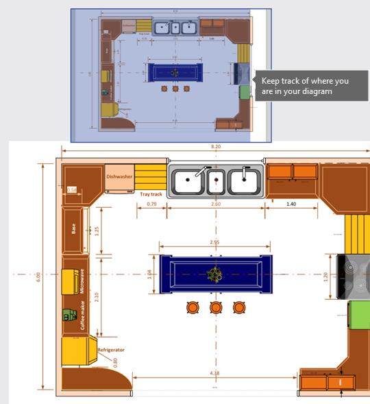חלון המחבת (המוצג בחלק העליון בתמונה זו) עוזר לך לעקוב אחר המיקום שבו אתה נמצא בדיאגרמה.
