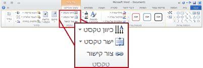 הכרטיסיה 'עיצוב אובייקט' תחת 'כלי ציור' ברצועת הכלים של Word 2010.