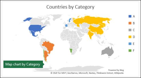 תרשים מפת Excel המציג קטגוריות עם מדינות לפי קטגוריה
