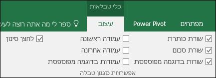 תמונה של האפשרות 'כלי טבלאות' ברצועת הכלים כאשר תא טבלה נבחר