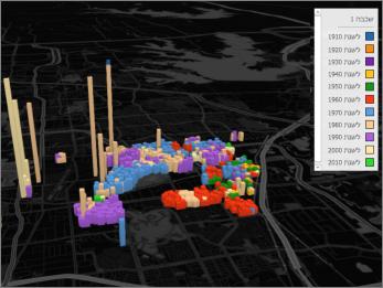 Power Map עם ערכת הנושא 'צבע שחור'