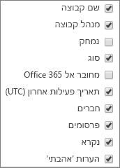 פעילות קבוצות של Yammer - בחר עמודות