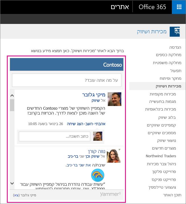 הזנה קבוצתית ב- Yammer מוטבעת בדף SharePoint