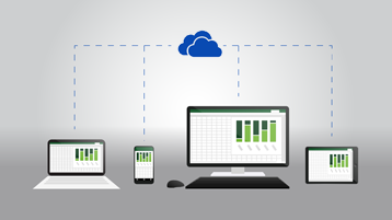 Tablet, מחשב שולחני, טלפון ומחשב נישא מציגים את אותו מסמך Excel ומחוברים לסמל OneDrive