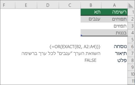 דוגמה שימוש או פונקציות המדויק כדי להשוות ערך אחד לרשימה של ערכים