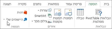 צילום מסך של מקטע של הכרטיסיה ' הוספה ' ברצועת הכלים של Excel עם סמן המצביע על היישומים שלי. בחר באפשרות היישומים שלי כדי יישומי access עבור Excel.