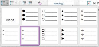 תפריט נפתח של רשימות עם תבליטים ב- Mac.