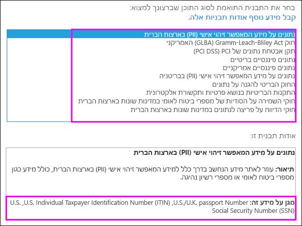 תבניות מדיניות DLP
