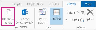 לחצן 'אפשרויות פגישה' ב- Outlook 2013