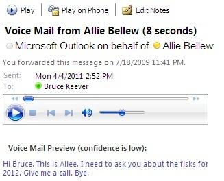 הודעת דואר קולי עם תמליל