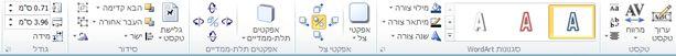 הכרטיסיה 'כלי WordArt' ב- Publisher 2010