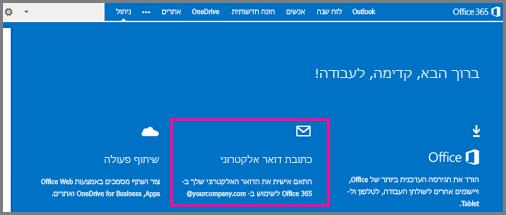 דף הפתיחה, המציג את אריח כתובת הדואר האלקטרוני