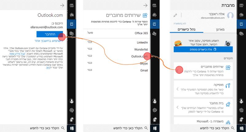 צילום מסך עם Cortana פתוח Windows 10 ובתפריט שירותים מחוברים ' פתח '.