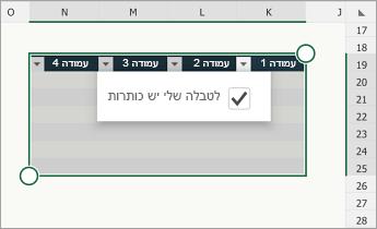 טבלה, עם בחירה של תיבת הסימון 'לטבלה שלי יש כותרות'