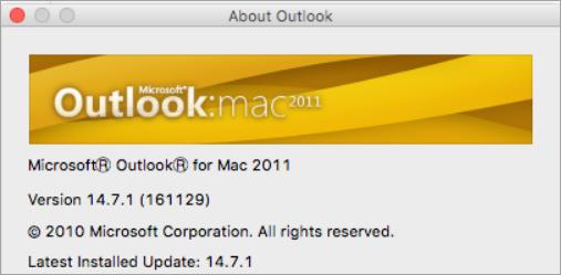 הכיתוב בתיבה 'אודות Outlook' יהיה 'Outlook עבור Mac 2011'.