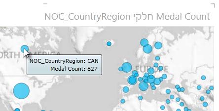 ריחוף מעל נתונים במפות power view לקבלת מידע נוסף
