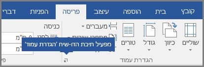 מפעיל תיבת הדו עבור הגדרת עמוד ב-Word.