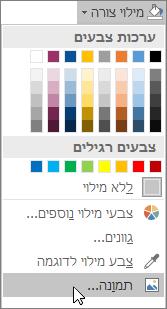 צילום מסך של האפשרות 'מילוי תמונה' תחת 'מילוי צורה' בכרטיסיה 'עיצוב אובייקט' ב- Publisher.