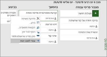 לוח סבב ורשימה של פקודות זמינות הקשורות לפעילויות