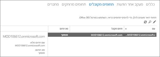 צילום מסך שמציג את הדף 'תחומים מקובלים' של מרכז הניהול של Exchange. מוצג מידע על השם, התחום המקובל וסוג התחום.