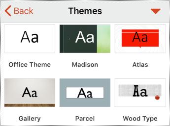 תפריט ערכות נושא ב- PowerPoint עבור iOS.