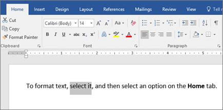 אפשרויות עיצוב טקסט ברצועת הכלים של Word