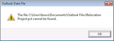 תיבת דו-שיח של קובץ נתונים חסר של Outlook (.pst)
