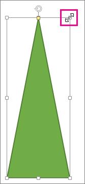 צורה עם נקודת אחיזה לשינוי גודל מסומנת