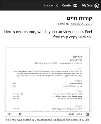 מסמך Word מוטבע בפרסום בלוג