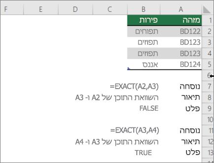 דוגמה באמצעות הפונקציה EXACT כדי להשוות תא אחד למשנהו