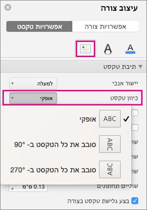 כיוון טקסט ' מסומנת בחלונית עיצוב צורה.